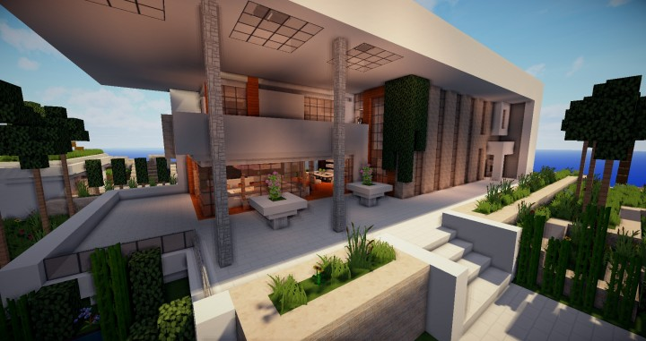 Beautiful modern house map for minecraft file for Modern house map